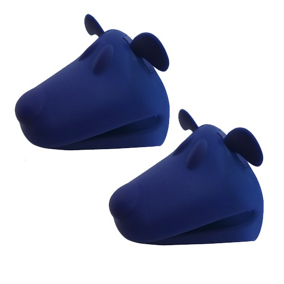 Kit c/ 2 Pegadores Luva Silicone Cachorro Home Cook Azul Niazitex