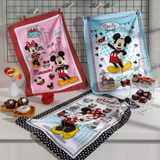Kit c/ 3 Panos de Prato Mickey e Minnie 13 Döhler Felpudos Prata 100% Algodão 45x65cm