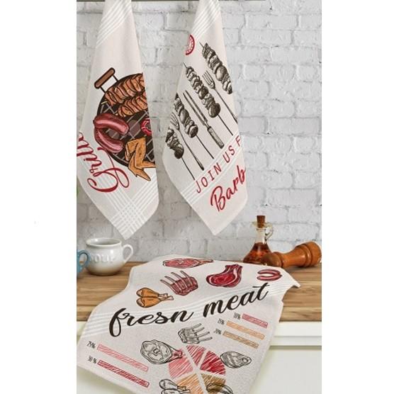 Kit c/ 3 Panos de Prato Teka Fiori Grill 100% Algodão 46x65cm