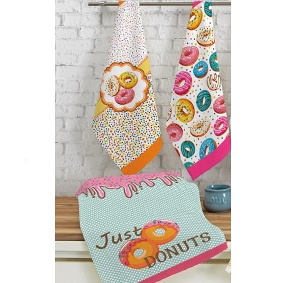 Kit c/ 3 Panos de Prato Teka Fiori Sugar Donuts 100% Algodão 40x65cm