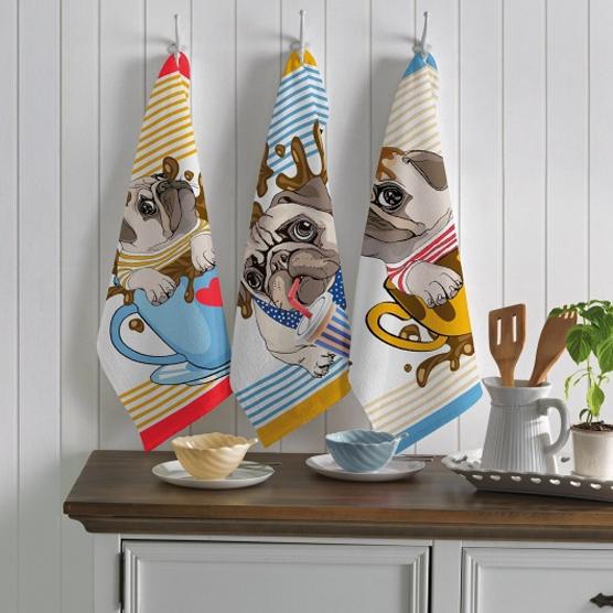 Kit c/ 3 Panos de Prato Teka Primore Dogs 100% Algodão 40x65cm