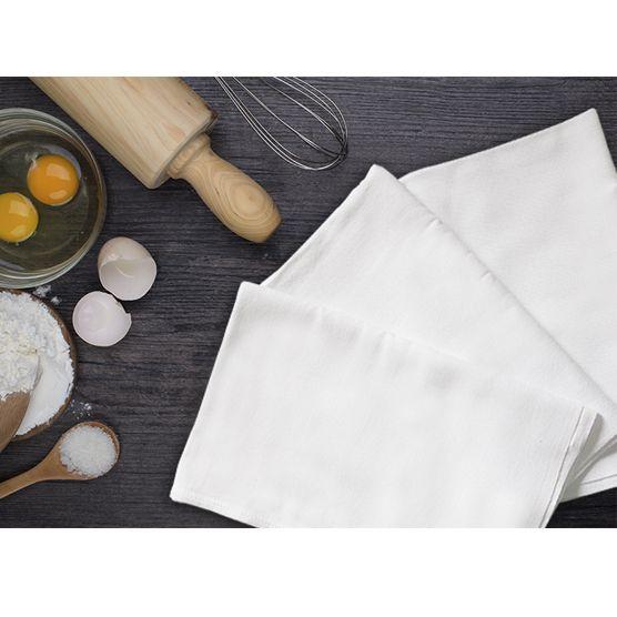 Kit c/ 5 Panos de Prato Engoma Têxtil Extra Grande Branco 45x72cm