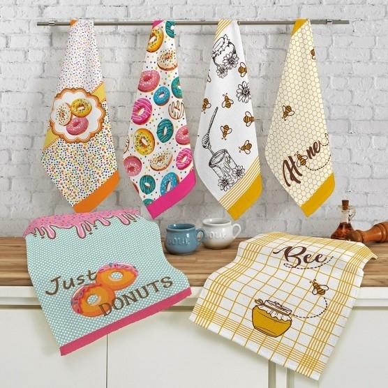 Kit c/ 6 Panos de Prato Teka Fiori Sugar Donuts e Sweet Honey 100% Algodão 46x65cm