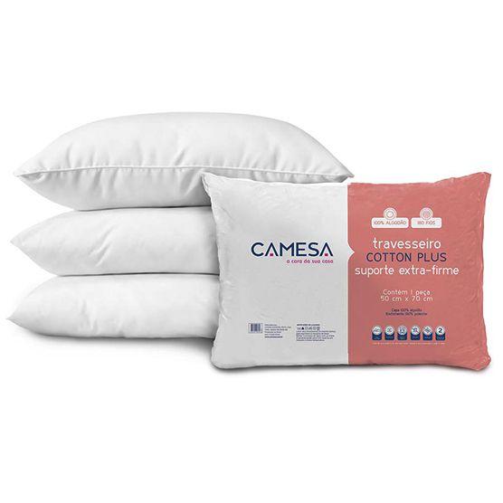 Kit com 2 Travesseiros Camesa Cotton Plus Suporte Extra Firme Antialérgico 50x70cm