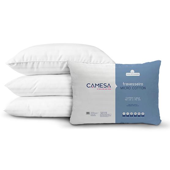 Kit com 2 Travesseiros Camesa Micro Cotton Antialérgico e Anti ácaro 50x70cm