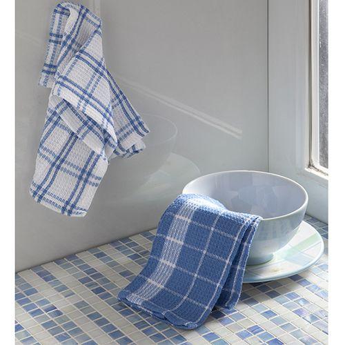 Kit Pano de Prato Corttex Waffle Xadrez Azul Home Design 30x50cm 2 peças