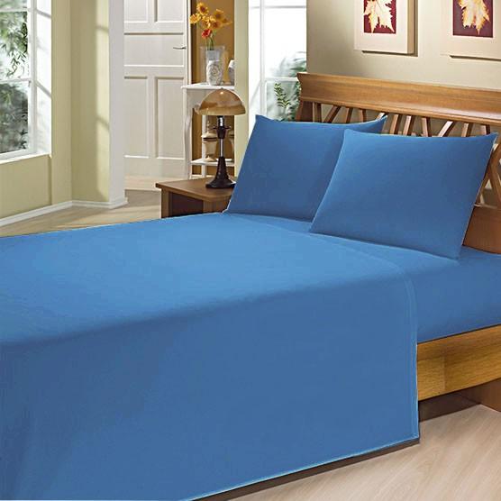 Lençol Solteiro c/ Elástico Camesa Microfibra 150 Fios Azul Escuro 88cm x 1,88m x 20cm