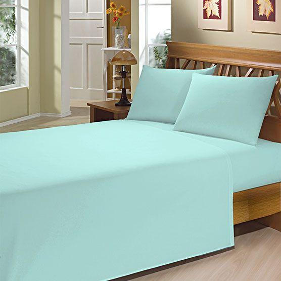 Lençol Solteiro c/ Elástico Camesa Microfibra 150 Fios Azul Piscina 80cm x 1,88m x 20cm