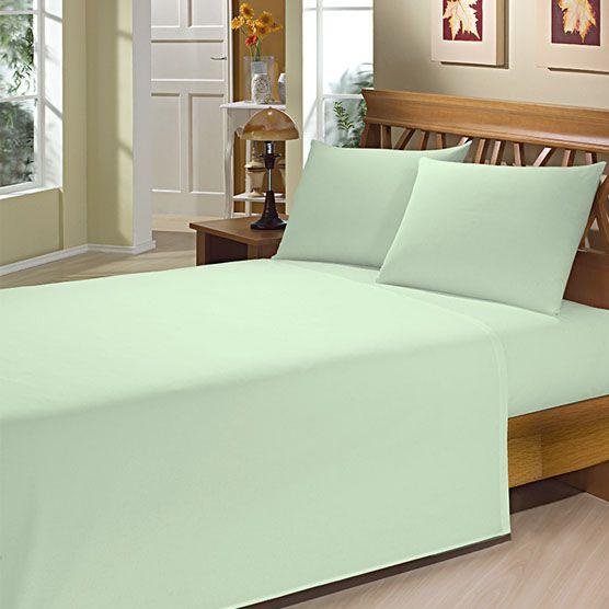 Lençol Solteiro c/ Elástico Camesa Microfibra 150 Fios Verde 88cm x 1,88m x 20cm