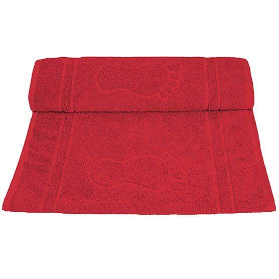 Tapete Para Banheiro Pegada Atoalhado 100% Algodão Vermelha 45x70cm Camesa