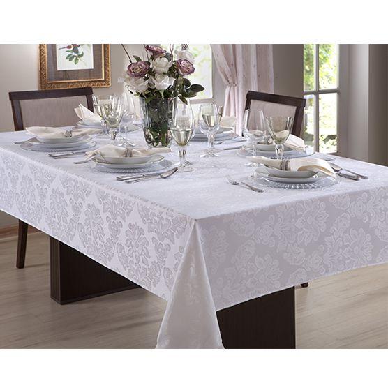 Toalha de Mesa Jacquard 1,50x3,20m Retangular p/ 10 cadeiras Branca Limpa Fácil Corttex