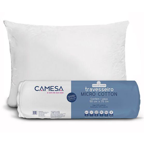 Travesseiro Camesa Micro Cotton Antialérgico e Anti ácaro 50x70 cm