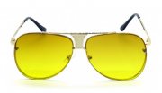 Óculos de Sol Metal Feminino Clean Dourado Lt Amarela