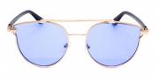Óculos de Sol Metal Feminino Clean Dourado Lt Azul