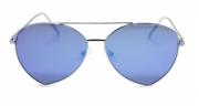 Óculos de Sol Metal Feminino Flat Lens Prata Lt Azul
