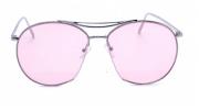 Óculos de Sol Metal Feminino Flat Lens Prata Lt Rosa