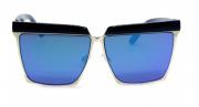Óculos de Sol Metal Feminino Flat Lens Preto Lt Azul