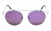 Óculos de Sol Metal Feminino Prata c/ Roxo
