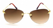Óculos Metal Feminino Estampado Marrom Degrade