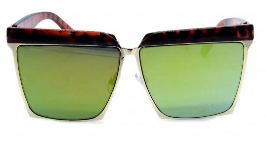 Óculos de Sol Metal Feminino Flat Lens Estampado Marrom