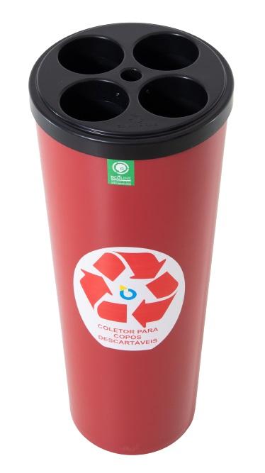 Coletor para Copos Descartáveis Polipropileno Aprox. 396 Cps Água - Ecoline - Só Lixeiras