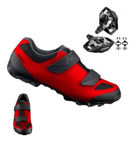 Sapatilha Shimano Me1 Me100 + Pedal Shimano M530 + Tacos Red