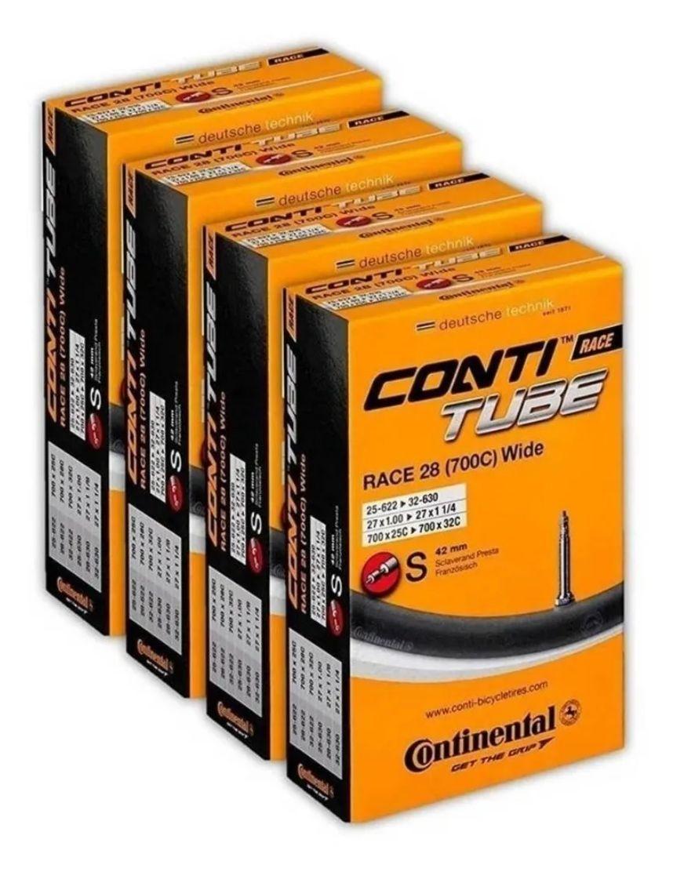 4 Câmaras De Ar Continental Speed 700 X 18 - 25 Válvula 42mm