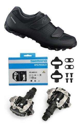 Sapatilha Shimano Me1 Me100 + Pedal Shimano M520 + Tacos
