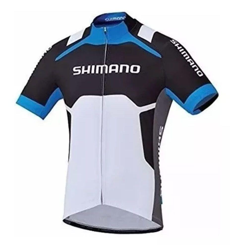 Camisa Ciclismo Shimano Performance Print Branca/azul Tam P