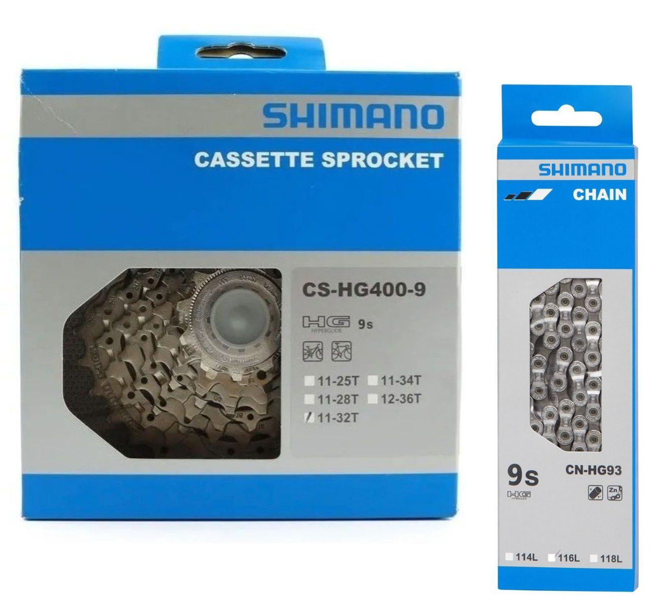 Cassete Shimano Alivio Hg400 9v 12-36 + Corrente Deore Xt 9v