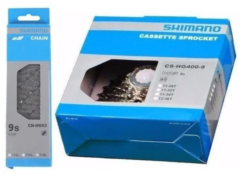 Cassete Shimano Alivio Hg400 9v 12-36 + Corrente Shimano Hg53 9v