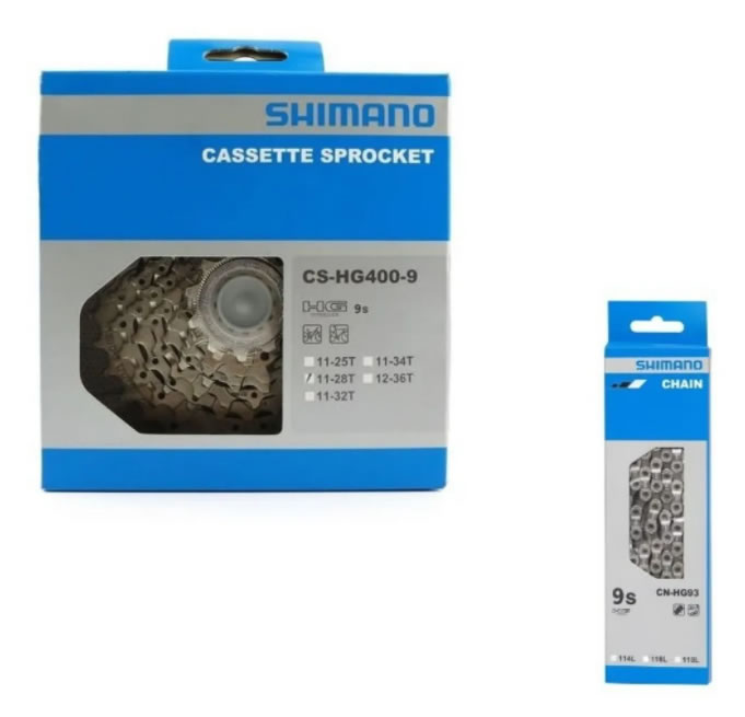 Cassete Shimano Hg400 11-28 9v + Corrente Hg93 9v Speed Sora
