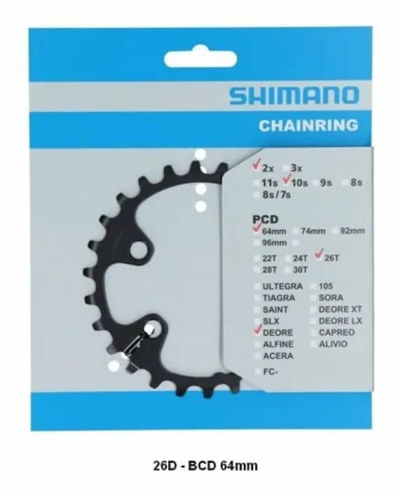 Coroa Shimano Deore Fc M6000 26d Assimétrico M7000 Xt M8000