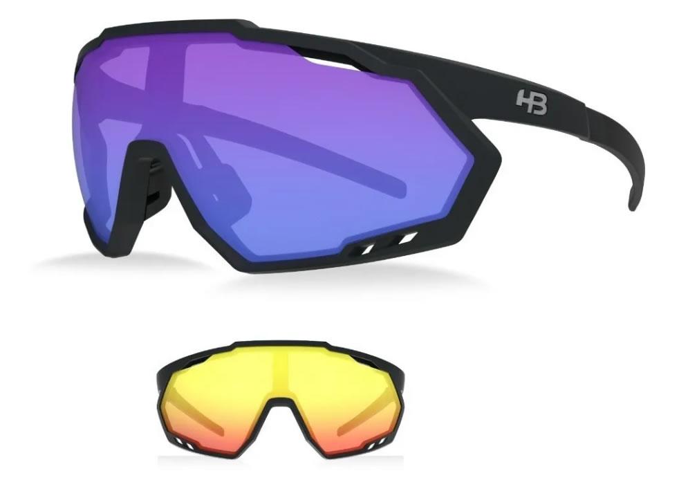 Óculos Ciclismo Hb Spin Matte Black Blue 2 Lentes