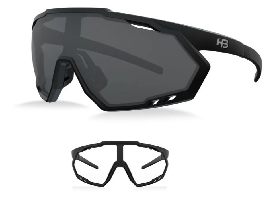 Óculos Ciclismo Hb Spin Matte Black Gray 2 Lentes