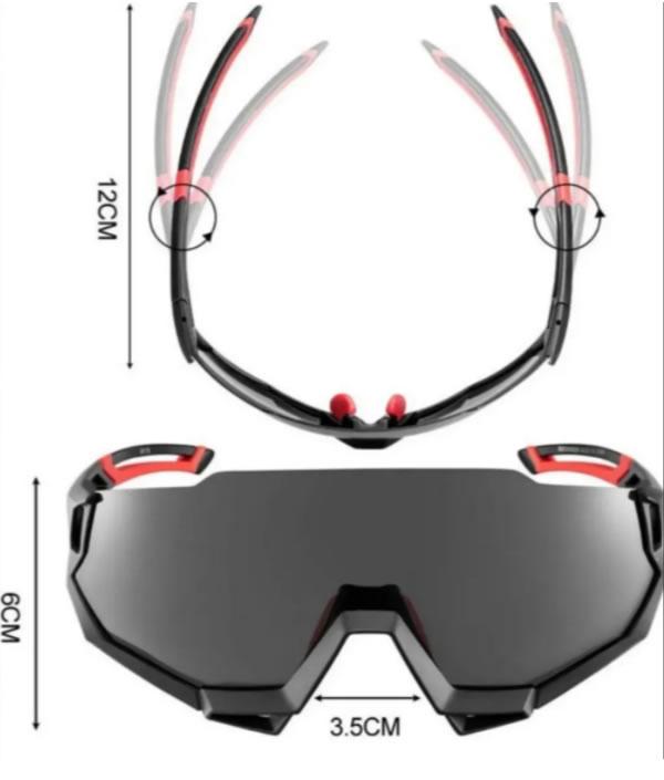 Oculos De Ciclismo Rockbros Com 5 Lentes + Clip De Grau C/uv