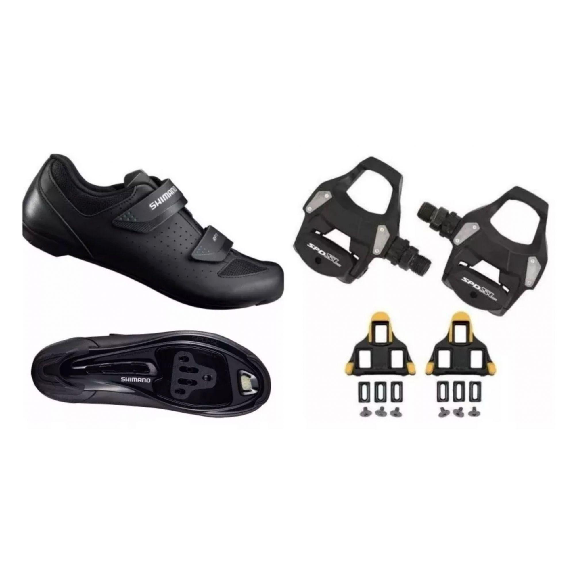 Sapatilha Shimano Ciclismo Rp1 Rp100 + Pedal Rs500 + Tacos