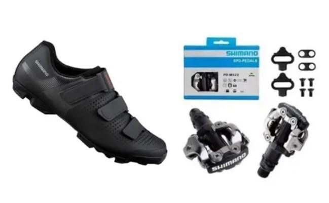 Sapatilha Shimano Xc1 Xc100 + Pedal Shimano Clip M520 + Taco