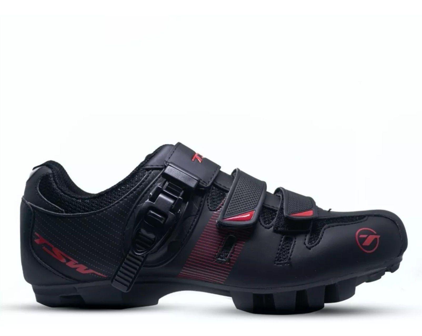 Sapatilha Tsw Cave Preta/Vermelha + Pedal Shimano M530 + Taco Clip Mtb