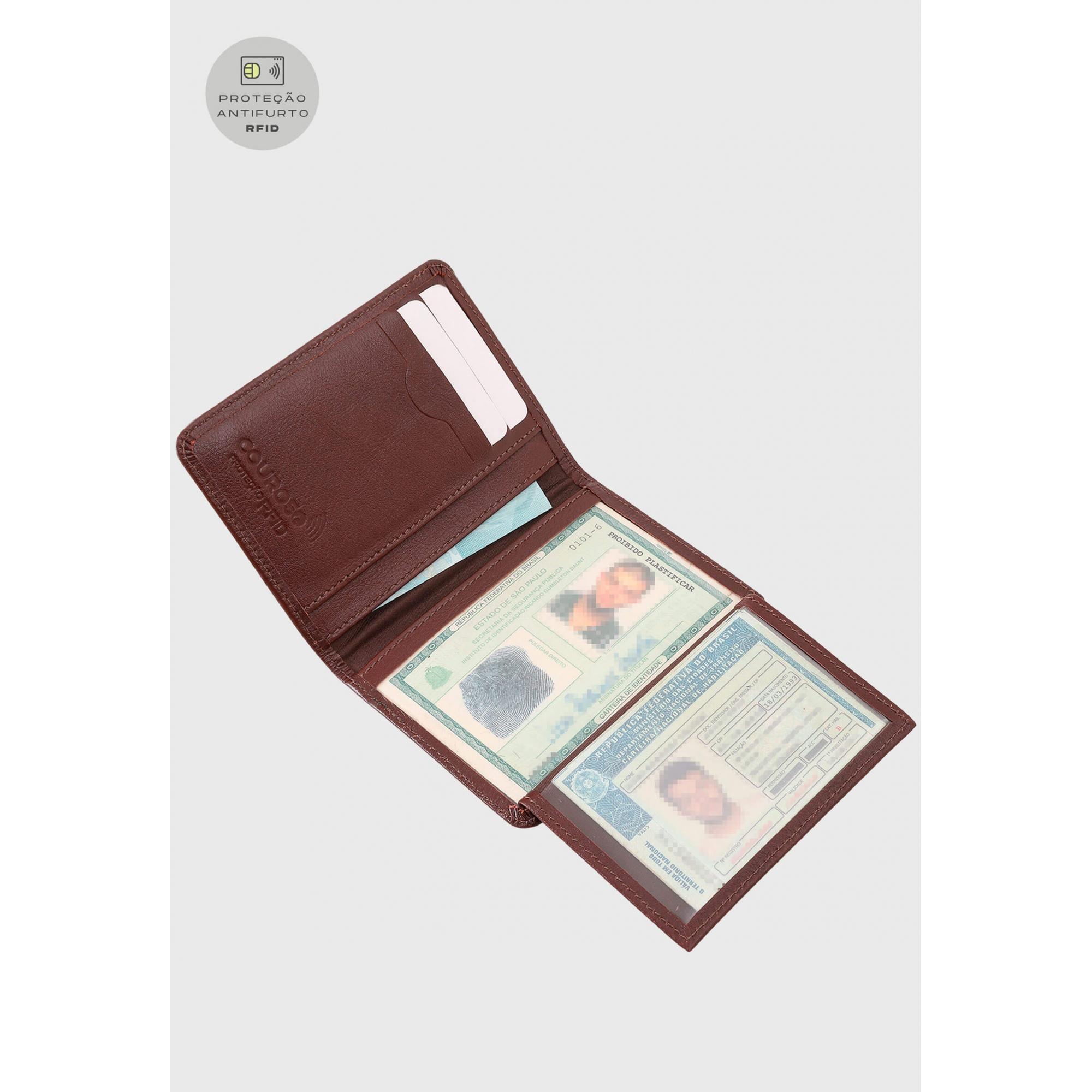 Carteira Couro Couro50 Proteção Antifurto RFID 620