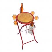 Mesa dobrável petisqueira cerveja artesanal vermelho