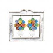 Quadro rústico decorativo flores coloridas