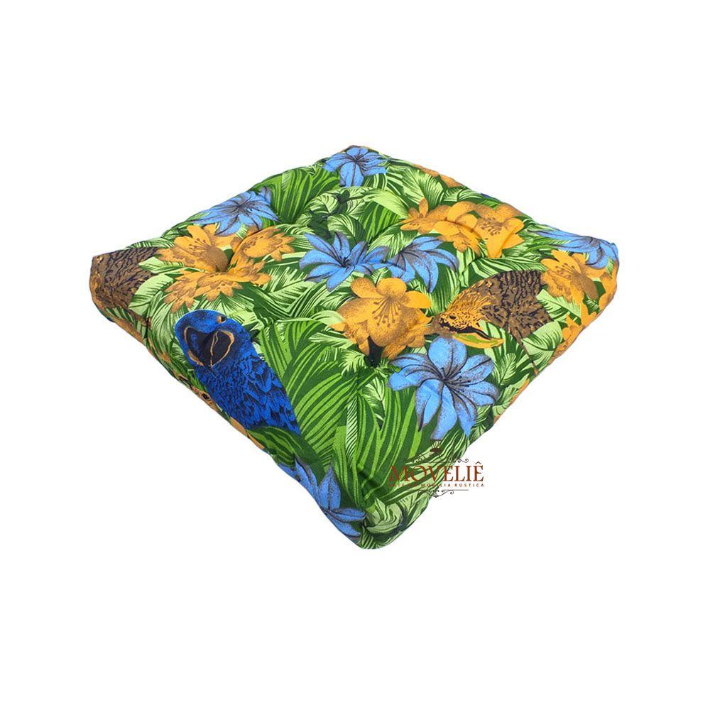 Almofada para Sofá e Banco de Madeira - Floral Azul