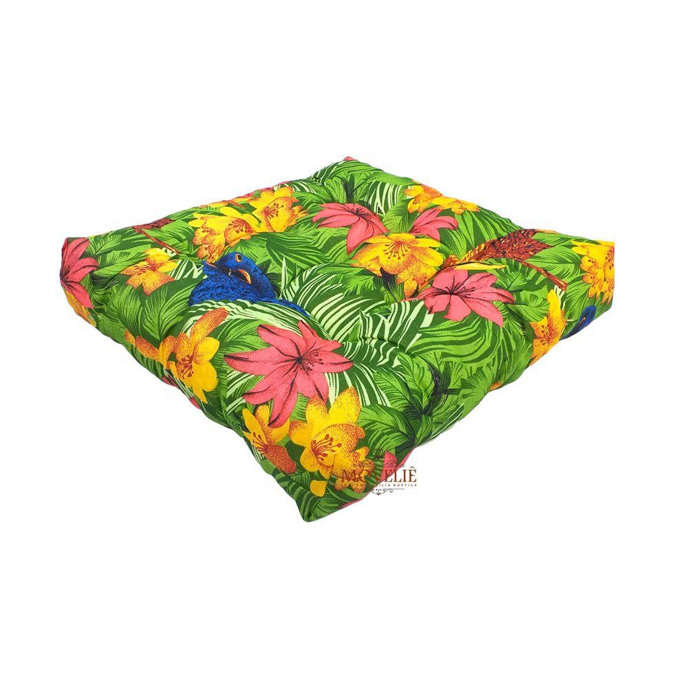 Almofada para Sofá e Banco de Madeira - Floral Rosa