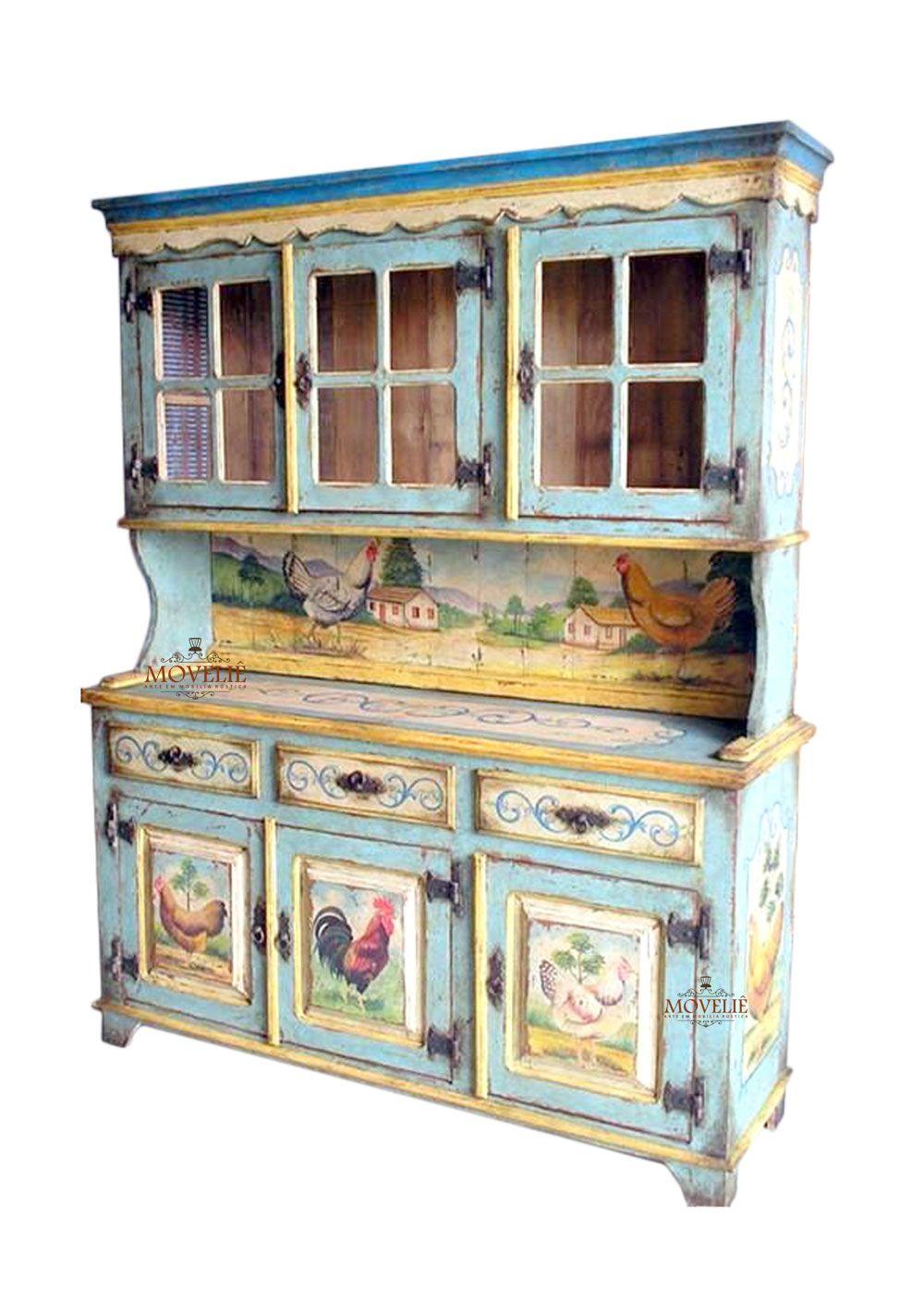 Armário de Cozinha em Madeira 3 Portas - Provençal Francês
