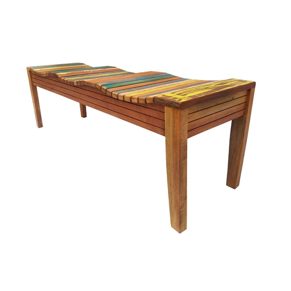 Banco rústico madeira maciça com pátina 145 cm