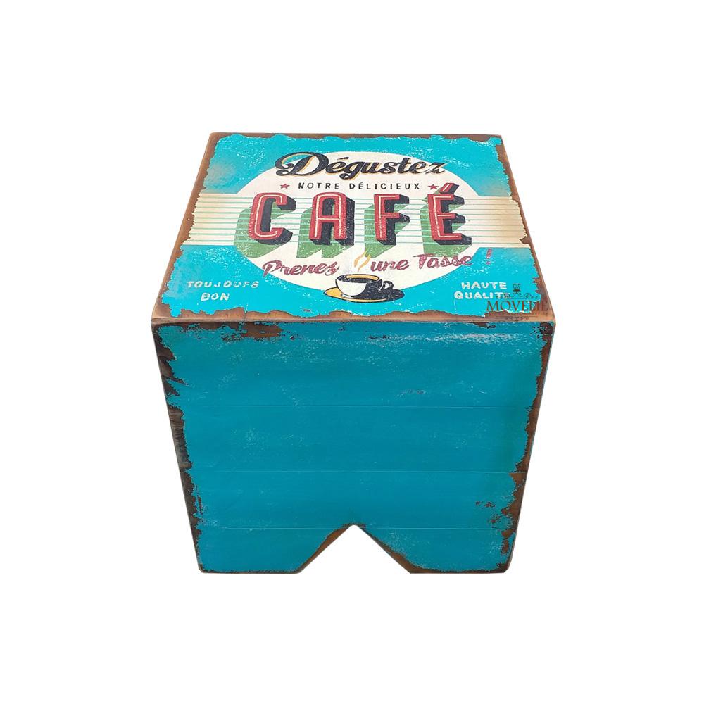 Banco volpi em madeira - Dégustez Café