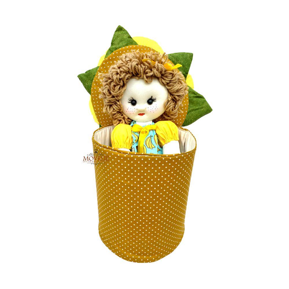 Boneca de Pano Menina Flor de Girassol