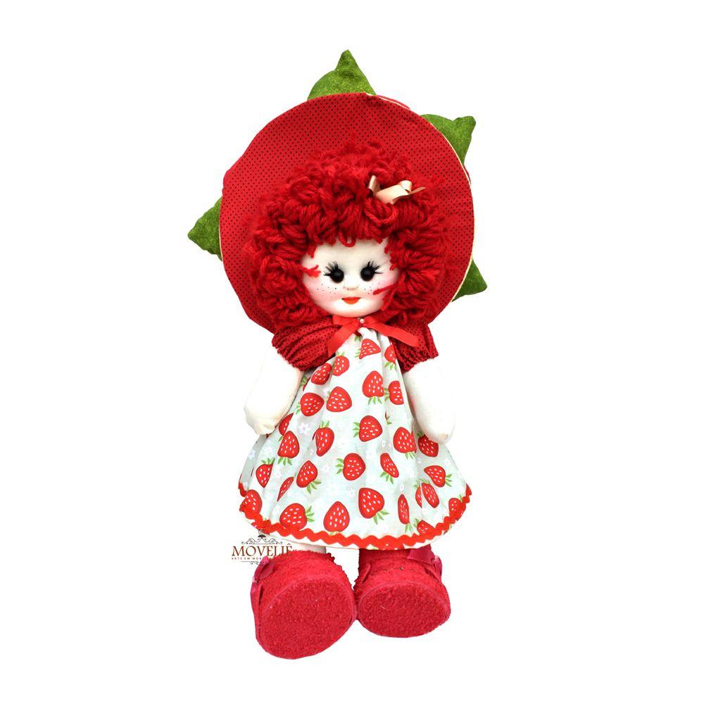 Boneca de Pano Menina Flor Moranguinho