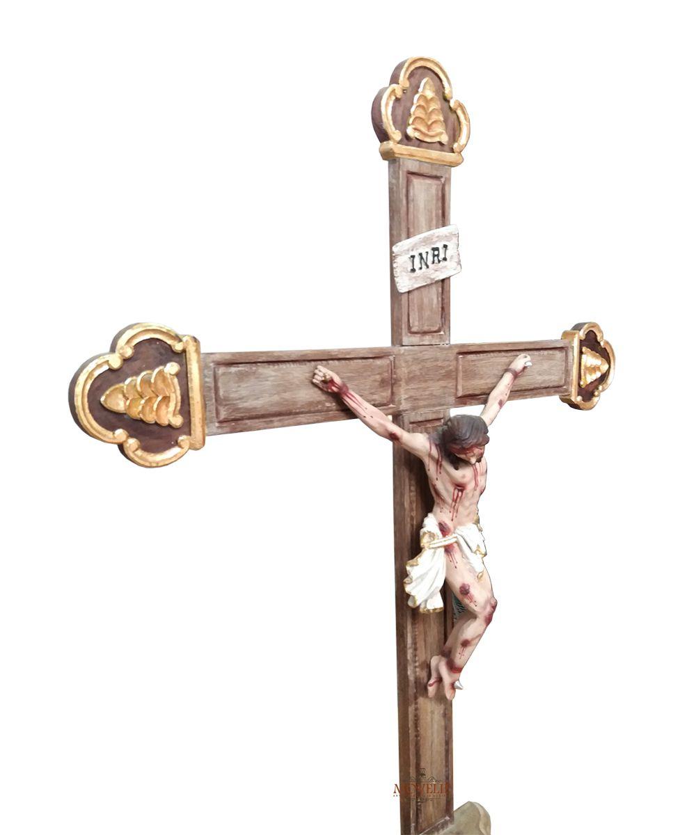 Crucifixo de Mesa e Altar Jesus Cristo Crucificado Madeira Maciça